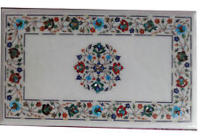 """36"""" x 22"""" Marble Coffee Dining Table Top Floral Inlay Pietra dura Handmade Work"""