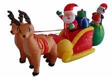 Christmas Air Blown Inflatable Reinder Santa Claus Penguin on Sleigh Decoration
