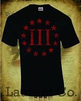 THREE PERCENTER T-SHIRT MOLON LABE 2ND AMENDMENT PATRIOT 3 PERCENT USA 3%