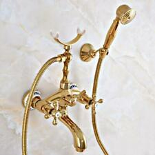 Polished Gold Brass Wall Mounted Bathtub Faucet With Handheld Shower Mixer Tap