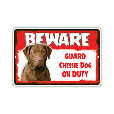 Beware Guard Chessie Dog On Duty Novelty Aluminum Metal 8x12 Sign