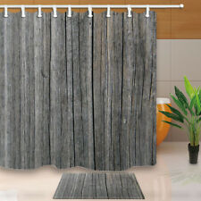 Gray Wood Board Shower Curtain Bathroom Waterproof Fabric & 12hooks 71*71inch
