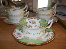 5 Cups & 3 Saucers - COALPORT Batwing Panel Green - Gold Scrolls, Beaded