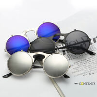 Retro Vintage Sunglasses Gothic Metal Round Flip Up Steampunk Glasses Eyewear