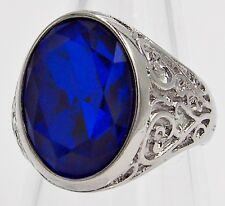 MEN RING BLUE SAPPHIRE STAINLESS STEEL SILVER HEART CARVED MEDIEVAL SIZE 9.75