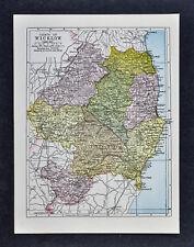 1900 Ireland Map Wicklow County Arklow Brides Head Shellelagh Dunlavin Redcross