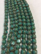 Antique style triangle 6mm Turquoise and forest green Czech glass bead