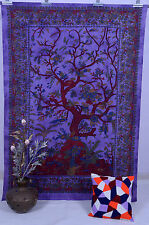 TREE of LIFE INDIAN WALL HANGING TAPESTRY BEDSPREAD THROW Purple Ethnic Blanket