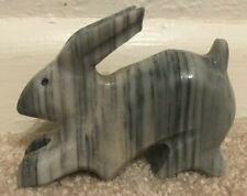 """Hand Carved Stone Gray Marble Rabbit Bunny Figurine3""""H x 4""""W X 1"""" W Easter"""