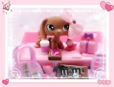 Littlest Pet Shop RARE HTF Brown Pink Valentine Dachshund #556 Authentic LPS LOT