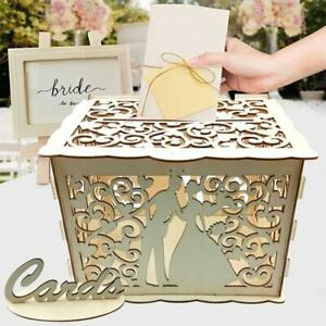 DIY Wooden Wedding Cards Storage Box Invitation Letter Container Party Supplies