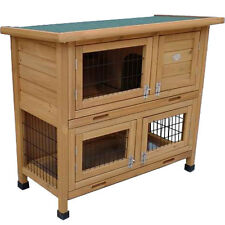 RABBIT HUTCH GUINEA PIG HUTCHES RUN RUNS 2 TIER DOUBLE DECKER CAGE ROGER NATURAL