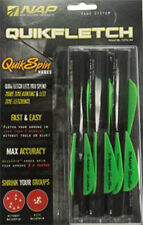 "NAP Quikfletch Quikspin Vane System 2"" Black Tube 2 Green 1 White 6 Pack"