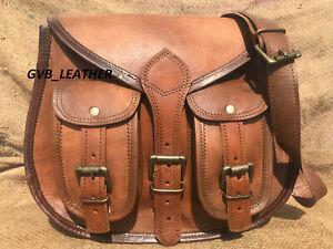 "13"" Women's Vintage Hobo Sturdy Leather Messenger Cross Body Bag Purse Satchel"