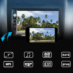 """7"""" 2 DIN HD Car MP5 Player Bluetooth Touch Screen Stereo Radio With Rear Camera"""