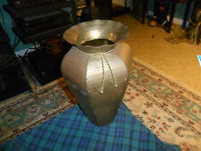 """Vintage Hammered Brass Can/Planter Vase 15"""" Made In India"""