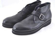 Auth GIORGIO ARMANI Ankle High Top Caviar Leather Shoes Boots UK 9.5 US 10 N043