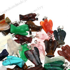 Natural Carved Angle Gemstone stone Silver Beads Pendant 20pcs/lot Wholesale