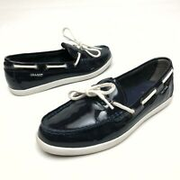 @@ Cole Haan Women's Sz 9 B Navy Blue Patent Leather Boat Loafers Flats Shoes