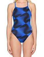 Speedo Women's Swimwear Black Blue Size 24 One-Piece Geometric Print $84 #709