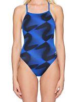 Speedo Women's Swimwear Black Blue Size 24 One-Piece Geometric Print $84 #709