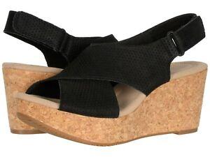 Women's Shoes Clarks ANNADEL PARKER Platform Wedge Sandals 50108 BLACK SUEDE