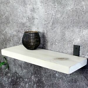Wood Floating Shelf - Trendy Wall Mounted Shelves Triple Coated with Oil - White