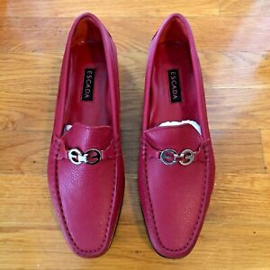 EUC ESCADA RED LEATHER WOMEN'S LOAFERS SHOES EUR 40.5 / US 10