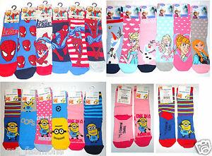 Official Kids Socks Frozen Minions Spiderman Childrens Novelty Cartoon Character