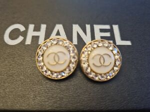 💗  2 pc Chanel buttons  19 mm rhinestone diamond  gold metal  trim stamped