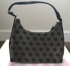 Dooney & Bourke Black/Grey Signature Logo Canvas Hobo Shoulder Bag