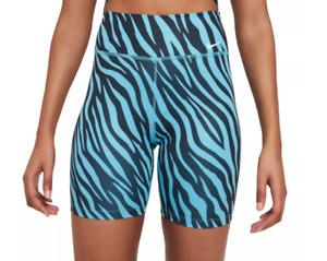 Nike One Shorts Womens Dry 7 Inch Training Blue Animal Print Medium or Large