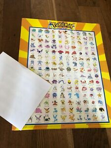 Vintage Pokemon Poster from 1999 showing the original characters A3 size folded
