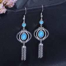 """Blue Fire Opal Onyx Silver for Women Jewelry Gems Dangle Earrings 3"""" LE4505"""