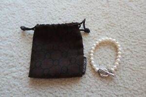 OROTON PEARL BEAD BRACELET WITH STERLING SILVER 'O' CLASP - WITH DUSTBAG