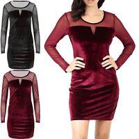 Womens Ladies Velvet Velour Mesh Insert Long Sleeve Party Bodycon Fit Mini Dress