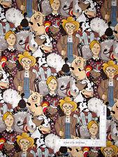 Funny Farm Animals Pig Cow Sheep Farmer & Wife Cotton Fabric Funny Farm - YARD