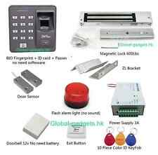 USA Fingerprint+RFID Door Access Control System+Magnetic lock+Bell+Flash Light