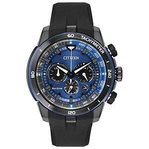 Citizen Eco-Drive Ecosphere Men's Chronograph Blue Dial 48mm Watch CA4155-12L