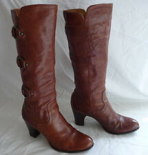 FRYE Womens Tall Boots Knee Hi Sz 9M Brown Leather O-Rings Straps Slip On Fiona