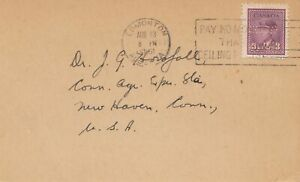 Canada: 1945: Edmonton - Inverse Cancel Date - To New Haven, Stamp Perfin