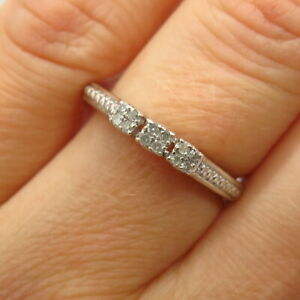 925 Sterling Silver Real Diamond Thin Engagement Ring Size 6 3/4