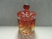 Baccarat Depose Bambous Swirl Rose Tiente Dresser Jar and Cover/Lid (Marked)