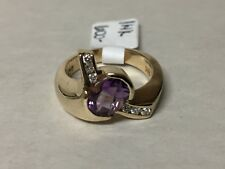 14K Yellow Gold Oval Amethyst and Diamond Modernist Propeller Ring