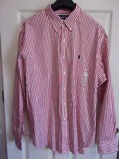 NWT~Ralph Lauren Classic Fit L/S Cotton Button Down Shirt~Red/White Stripe~XXL