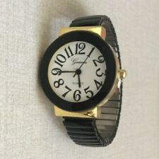 Geneva Ladies Watch Big Hour Numbers on Stretch Elastic Black Band Fashion Watch