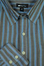Paul Frank Men's Brown Blue Yellow Stripe Twill Cotton Casual Shirt XL XLarge
