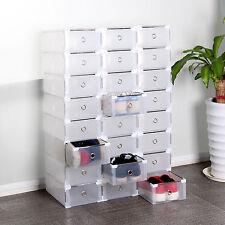 24 Plastique Empilable Boîte à Chaussures Housse Tiroir Stockage Rangement