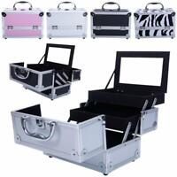Aluminum Makeup Train Jewelry Storage Box Cosmetic Lockable Case Organizer US