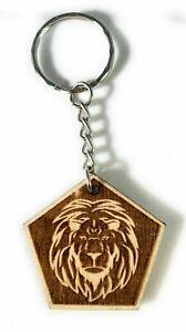 Schlüsselanhänger aus Holz 'Löwe' graviert 4cm x 4cm - Handmade